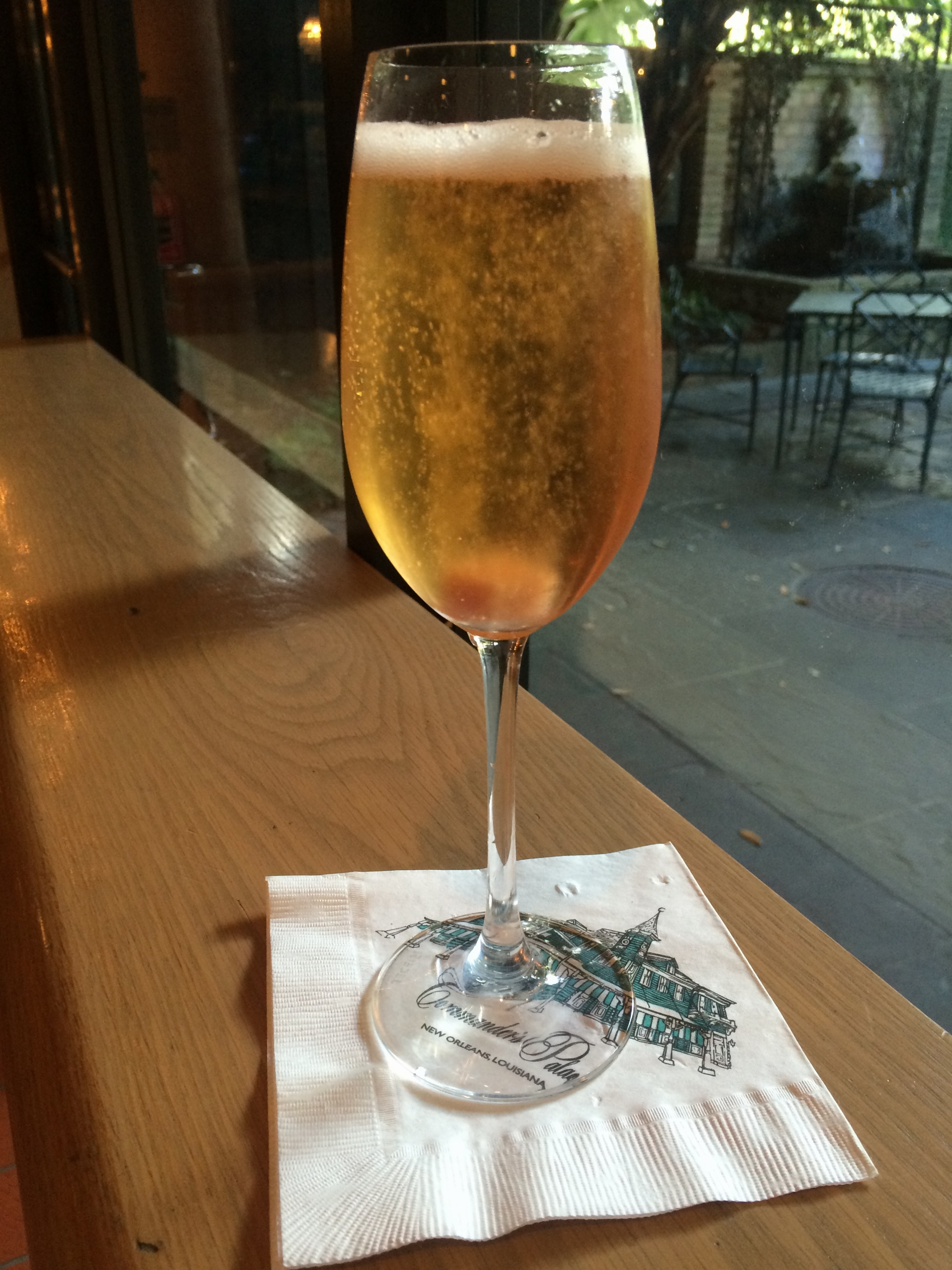 Classic bubbly -- and a view of the courtyard -- at Commander's Palace. (Photo courtesy of Commander's Palace)