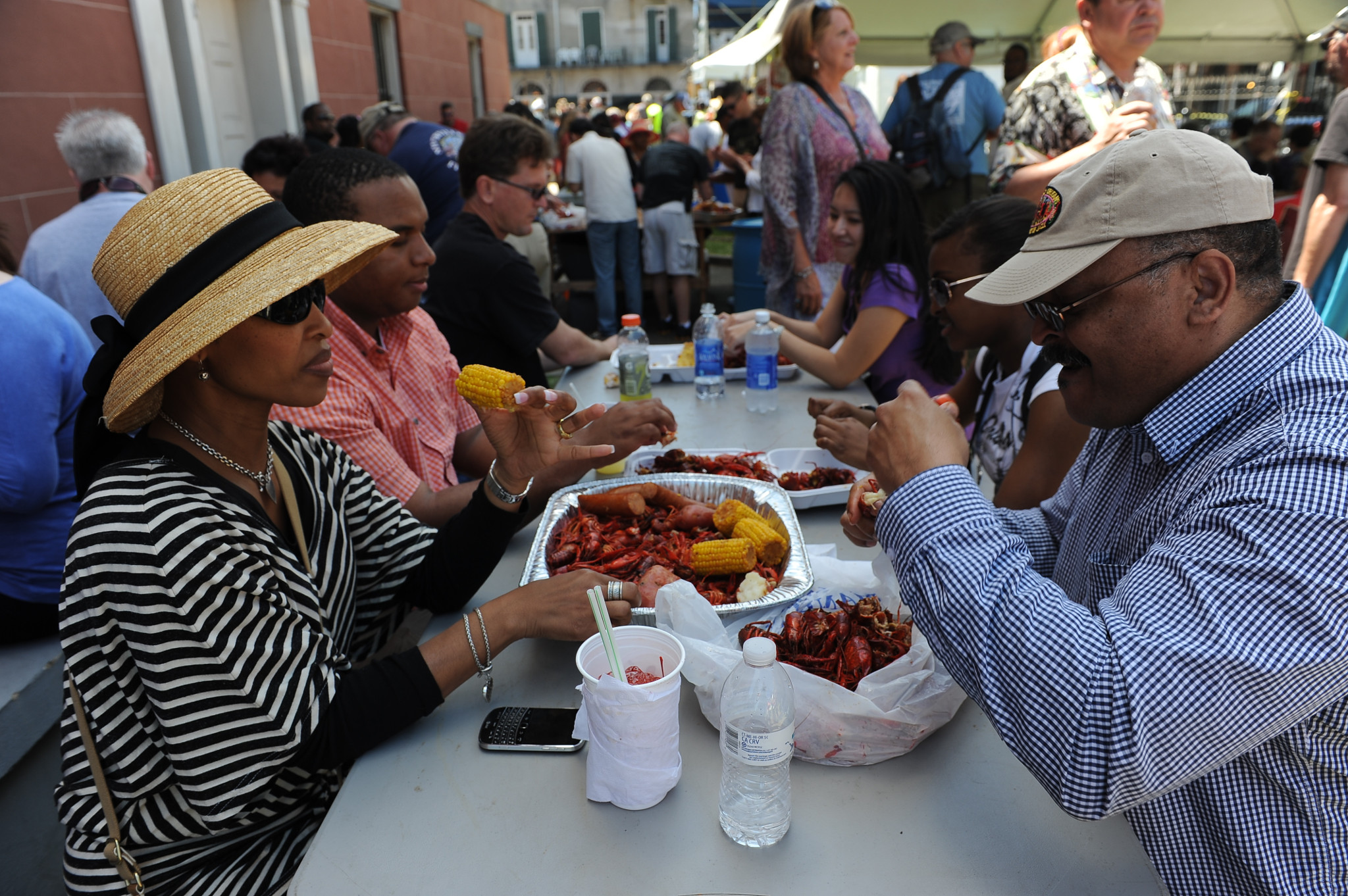 Eating crawfish at French Quarter Fest is a springtime rite of passage. (Photo: Cheryl Gerber)