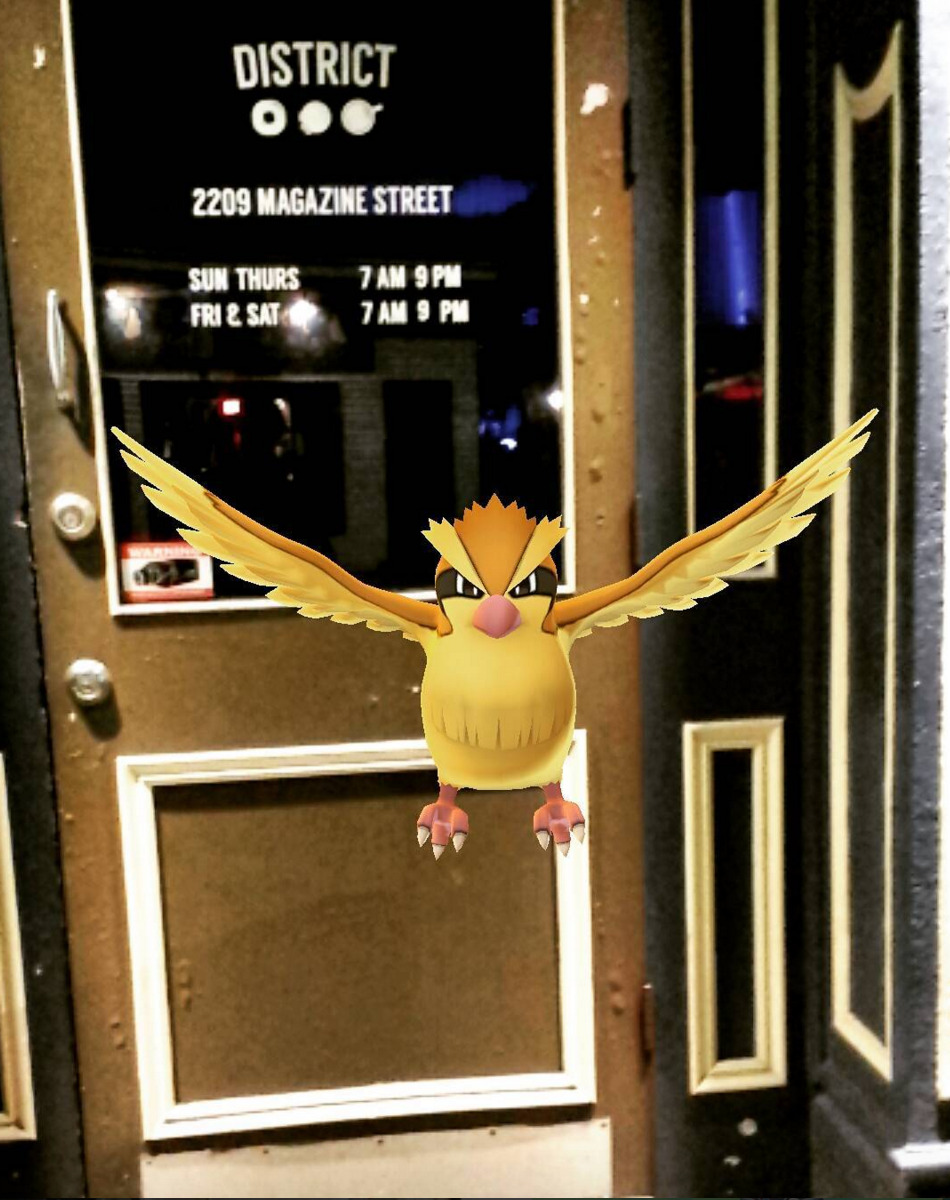 A Pidgey Pokemon waits to swoop down on any crumbs at District Donuts. (Photo via @mellectric on Instagram)