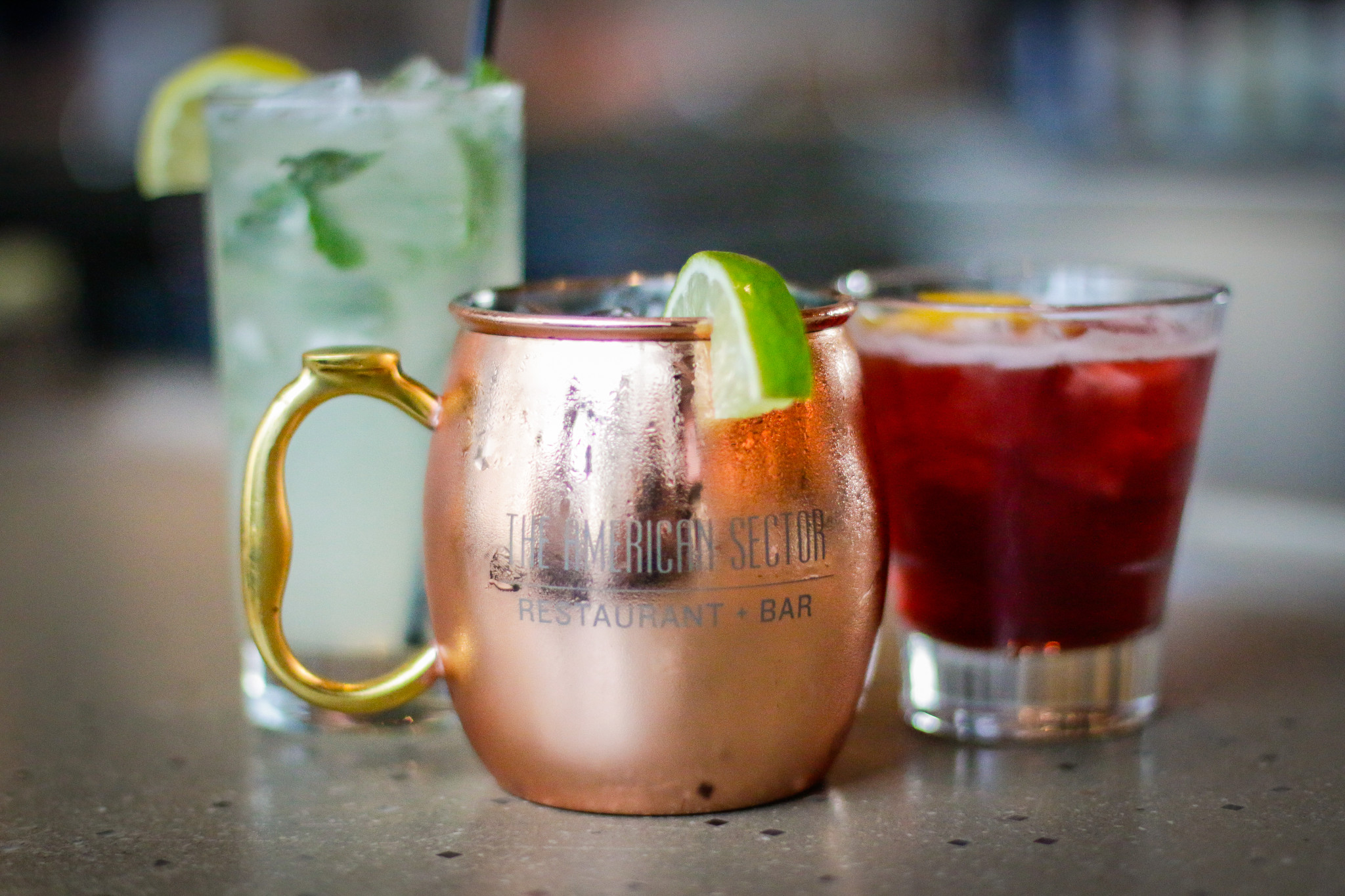 Happy hour drinks at American Sector. (Photo: Rebecca Ratliff)