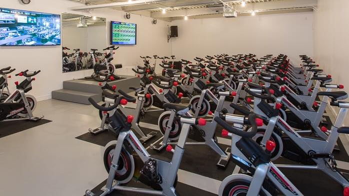 The cycling studio at Higher Power. (Photo via Higher Power NOLA on Facebook)