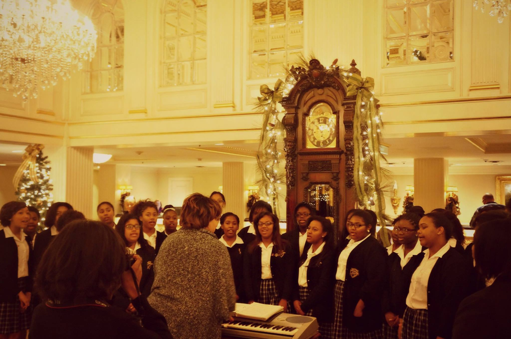 Local school choirs sing carols in the Hotel Monteleone lobby every year during the holidays. (Photo via Hotel Monteleone on Facebook)