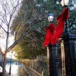 Christmas decorations in Jackson Square