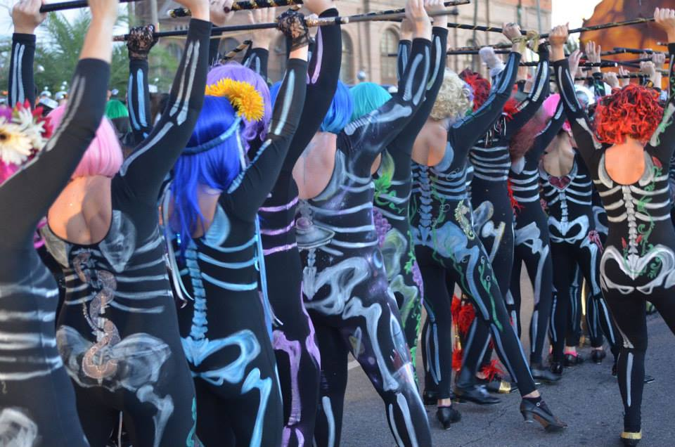 A skeleton dance squad at Krewe of Boo. (Photo via Krewe of Boo on Facebook)