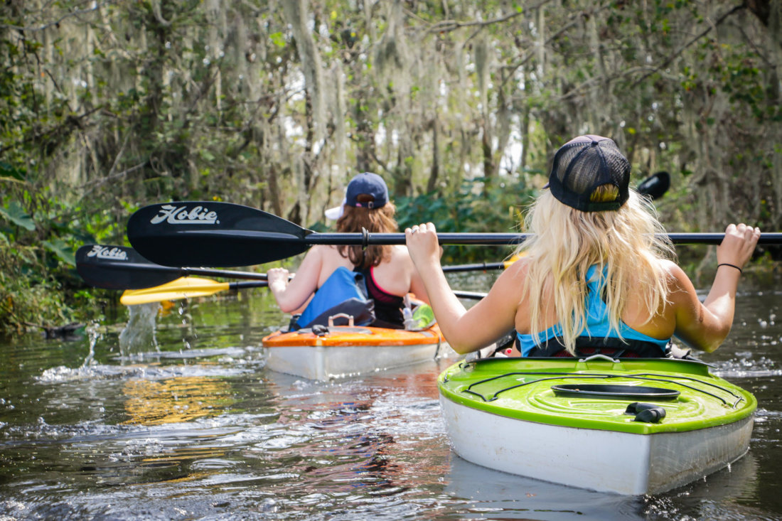 Even while paddling through thick duckweed, there were moments of paddles-up respite.