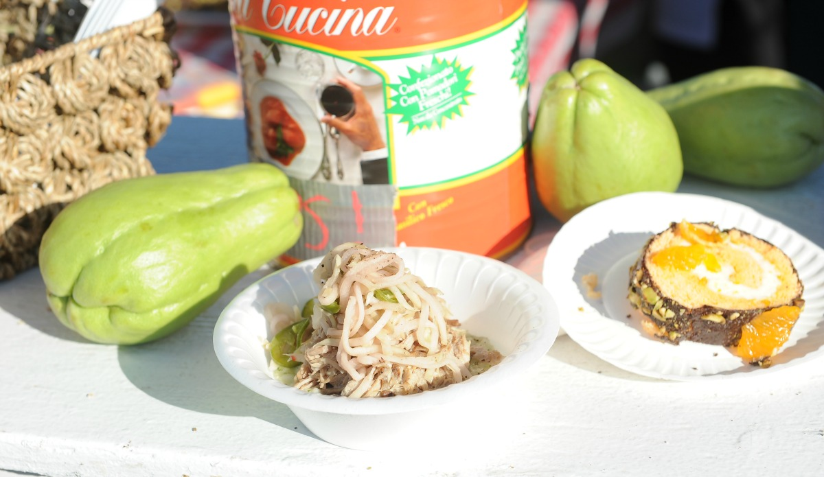 Mirliton-filled dishes at the Bywater Mirliton Festival. (Photo: Cheryl Gerber)