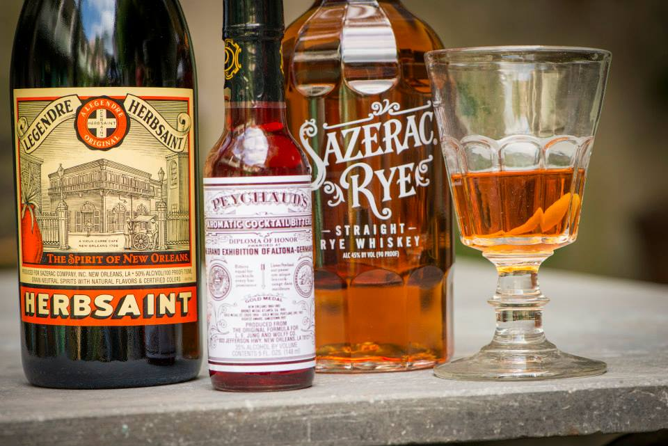 Peychaud's and Sazerac Rye along with Herbsaint: all three are New Orleans-based. (Photo via Peychaud's on Facebook)