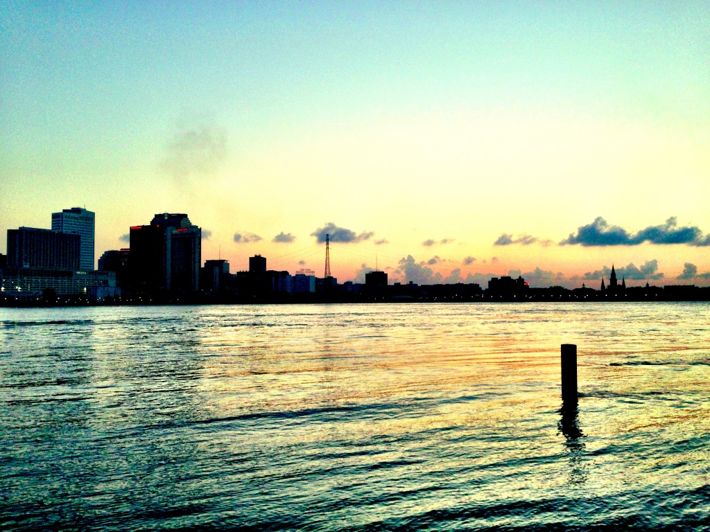 Admiring the sunset against the N.O. skyline in Algiers Point is one of my favorite things to do (my photo)