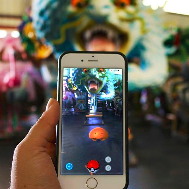 Playing Pokemon Go at Mardi Gras World. (Photo via Mardi Gras World)