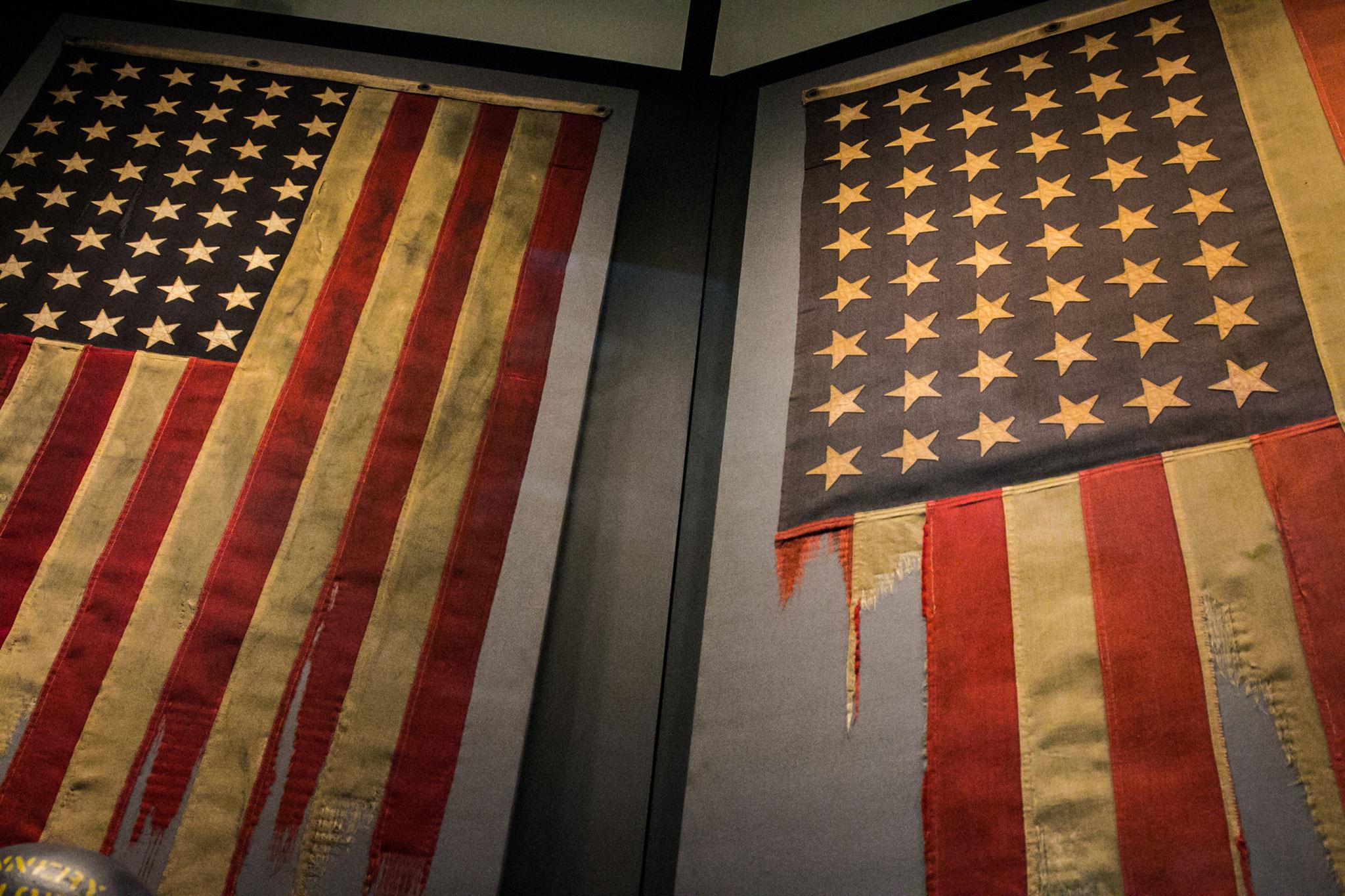 American flags inside The National World War II Museum. (Photo: Rebecca Ratliff)