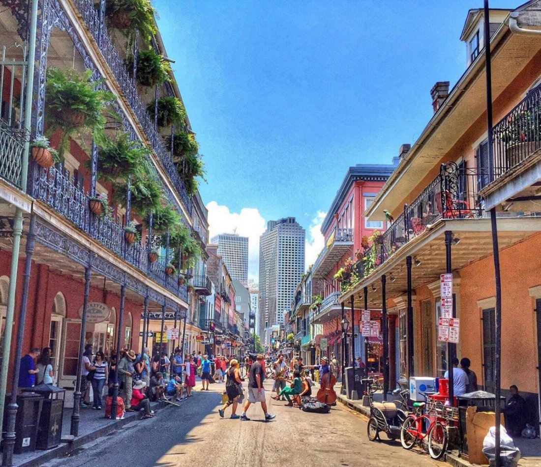 Historic French Quarter architecture bumps up against the modern Central Business District from this vantage point on Royal Street. (Photo courtesy of David Mora)