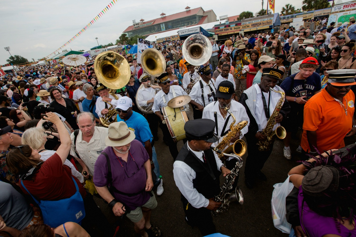 A jazz funeral for musician Uncle Lionel Batiste with the Treme Brass Band and friends during the 2013 Jazz Fest. (Photo courtesy of New Orleans Jazz & Heritage Festival presented by Shell)