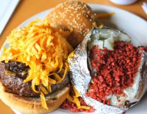 Burger and baked potato at port of call