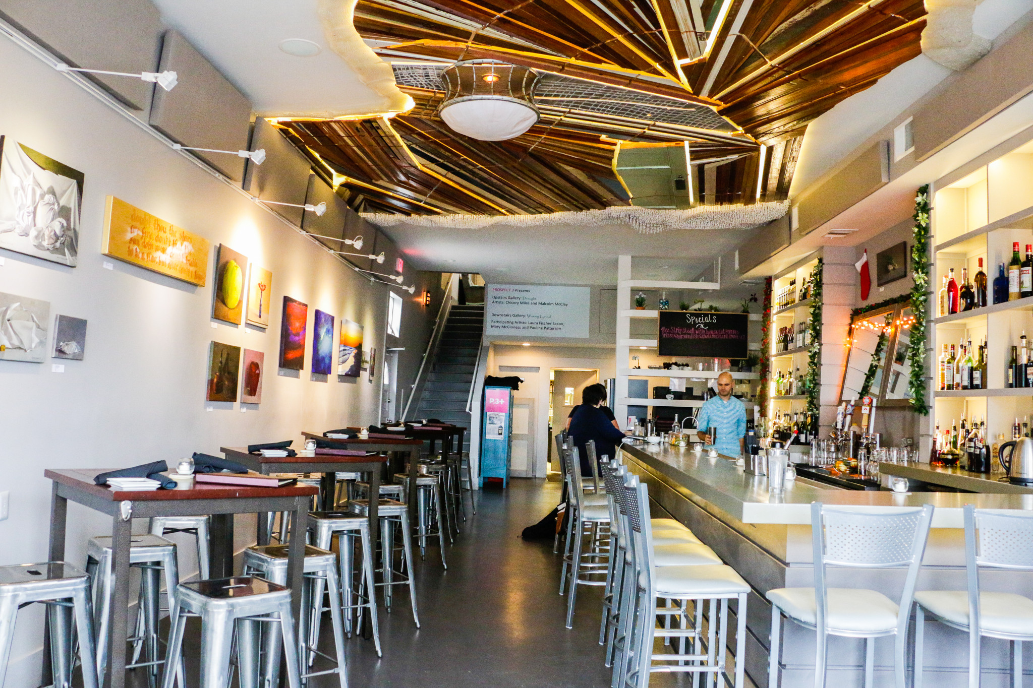 Treo features mesmerizing decor and rotating artwork from local artists, plus food from acclaimed Chef Michael Gulotta. (Photo: Rebecca Ratliff)