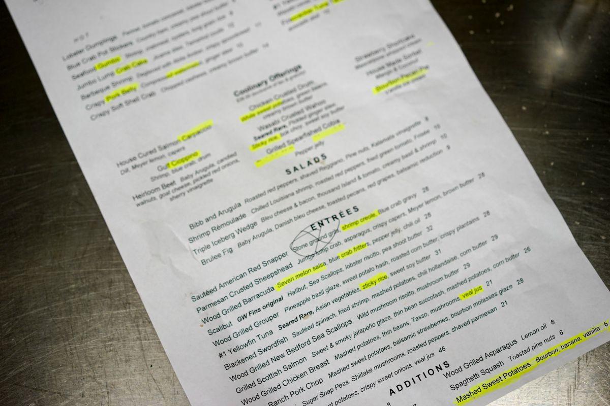 working kitchen menu