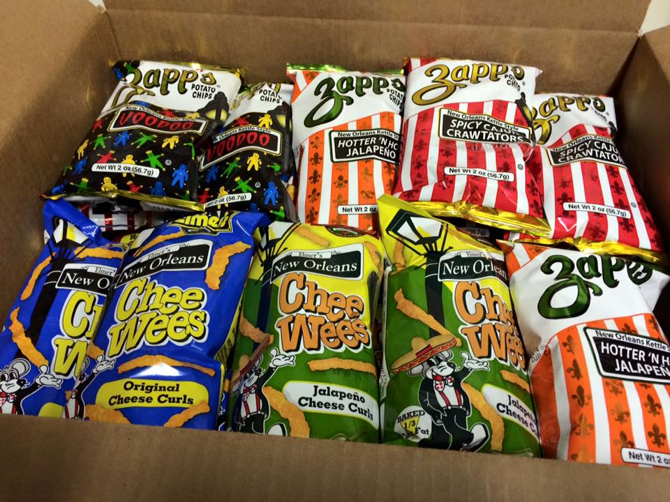Zapp's and Chee Wees: the perfect pair. (Photo via Elmer's Chee Wees on Facebook)